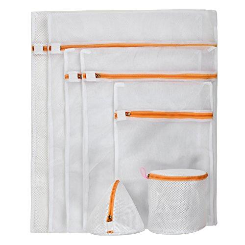 eLander Wäschenetz [7 Stück] Wäschesack Premium Qualität Wäschetasche Wäschebeutel für Waschmaschine [Orange]