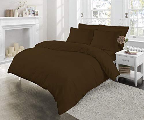 Sleep&Beyond Poly Cotton Easy Care Duvet Cover Set (Chocolate, Single)