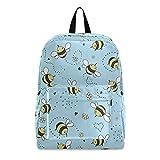 Mochila de viaje con diseño de abejas de dibujos animados, diseño floral de abejas, ideal para estudiantes, colegio, colegio, bolsa de viaje, bolsa de hombro para ordenador portátil de 15,6 pulgadas