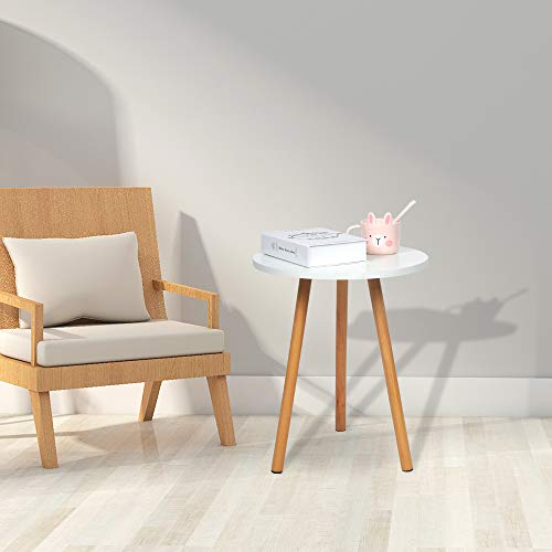 4HOMART Simple White Round Wooden Side Table End Table for Living Room Small Space Coffee Table Sofa Table Bedside Table