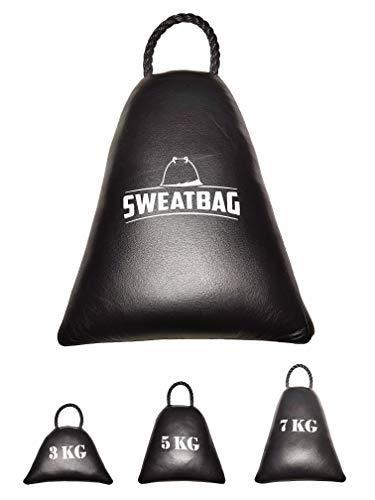 SWEATBAG schwarz - Fitness 3 in 1 - Stepper Aerobic, Medizinball, Kugelhantel - Crossfit, HIIT Workout, Cardio, Gymnastik, Krafttraining - echtes Leder - 7KG