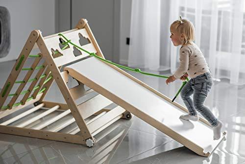 Pikler Triangolo Bambino Palestra Bambini Playhouse Regolabile Bambino Montessori Scala Giocattolo Scaletta Scaletta Bambino Pikler Palestra Slide Attività Pieghevole (Triangolo+Slide Set)