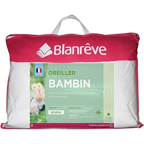 blanrêve Oreiller bébé Coton Moelleux Anti-acariens Bambin 40x60cm