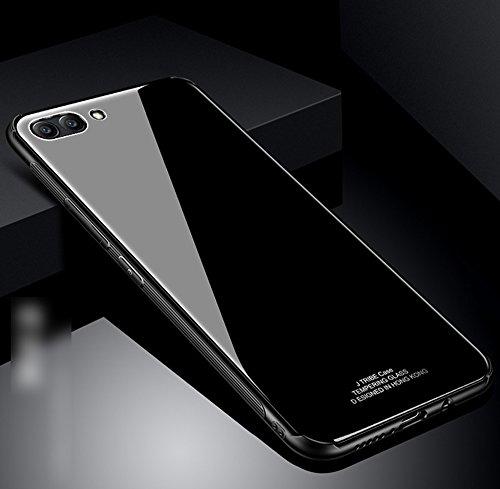 Kompatibel mit Huawei Honor View 10 Hülle,Huawei Honor V10 Hülle,TPU Frame Gehärtetes Glas Back Schutzhülle Hülle Silikon Bumper Hülle Hülle Tasche Schutzhülle für Huawei Honor View 10 Hülle,Schwarz