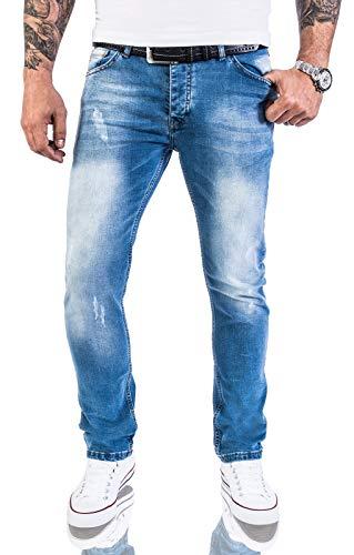Rock Creek Designer Herren Jeans Hose Stretch Jeanshose Basic Slim Fit [RC-2131 - V.Light Blue - W32 L32]