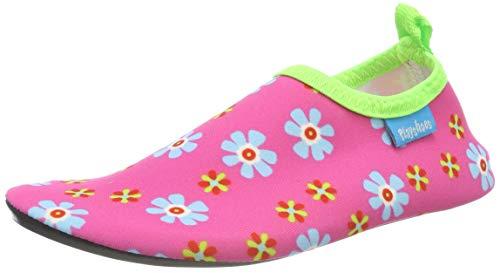 Playshoes Unisex-Kinder Badeslipper Aqua-Schuhe Blumen, Pink (Pink 18), 24/25 EU