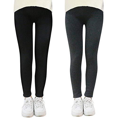 YFPICO Leggings Cálidos de Invierno Estampados para Niñas Leggings Elásticos Gruesos Medias de Terciopelo Largos Suave y Cómodo Pantalones, Gris + negro, 4-5 años Etiqueta 110