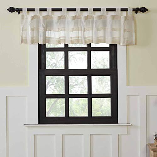 "VHC Brands Farmhouse Kitchen Window Curtains - Quinn White Tab Top Valance, 16"" x 90"", Creme"