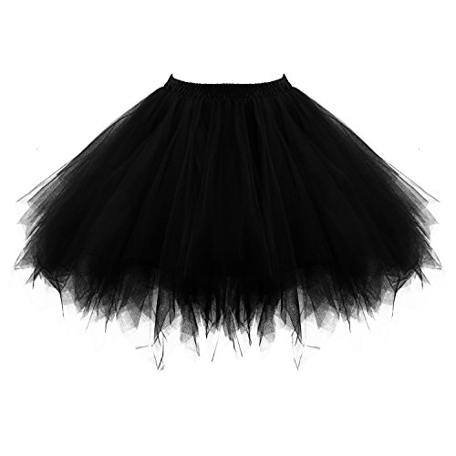 Honeystore Women's Short Vintage Ballet Bubble Puffy Tutu Petticoat Skirt Black