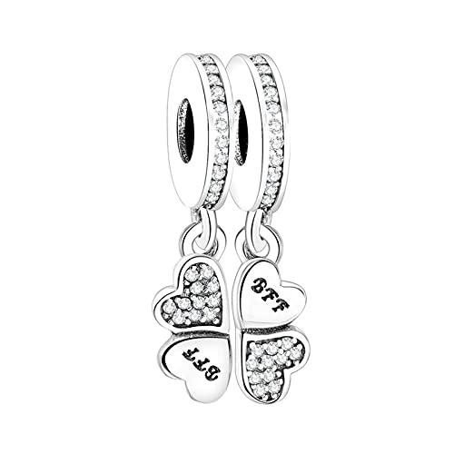 JIAQ Charms Pulsera 925 Letra de Plata esterlina BFF Best Friends Four-Heart Heart Beads Colgante Berloque