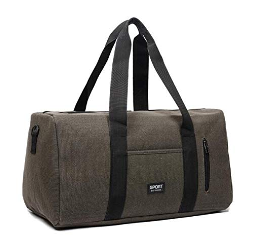 Large Canvas Holdall Travel Duffel Bag Overnight Weekend/weekender Bags Sports Gym Bag For Men And Women Cabin Carry On Luggage - Brown And Black 54x27x30cm / brown
