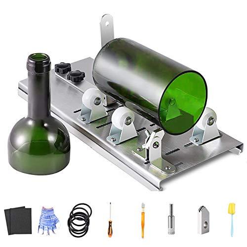 Holzsammlung Cortador de Botellas de Cristal de Acero Inoxidable Kit, Máquina de Corte de Botellas Artesanía Casera Herramientas de Crtador de Bricolaje para Redondos Champán Whisky Cerveza Botellas