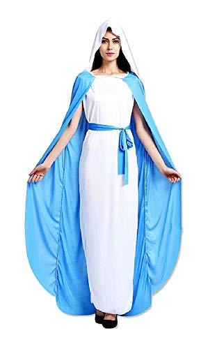 KIRALOVE Disfraz de Virgen maría - aderezo para Mujer - Halloween - Carnaval - Accesorios para máscaras - Mujer niña - Color Azul Claro y Blanco - Talla única - Idea de Regalo Original Cosplay