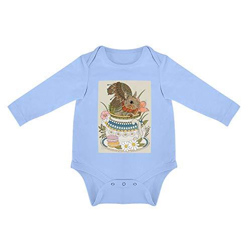 No Branded Langarm Baby Body Kuchen Porzellan Eichhörnchen Unisex Baby einfache Langarm Körper 0-24 Monate 24months