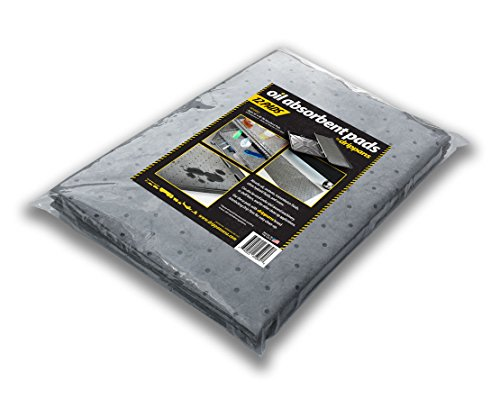 """Oil Absorbent Pads - Pack of 12, 16"""" x 48"""" pads; perforated every 12"""" (for 48 12"""" x 16"""") Sorbent Pads. Absorbs: Oil, Coolants, Transmission Fluids, Water, Etc. From DripPansUSA. Made in USA."""