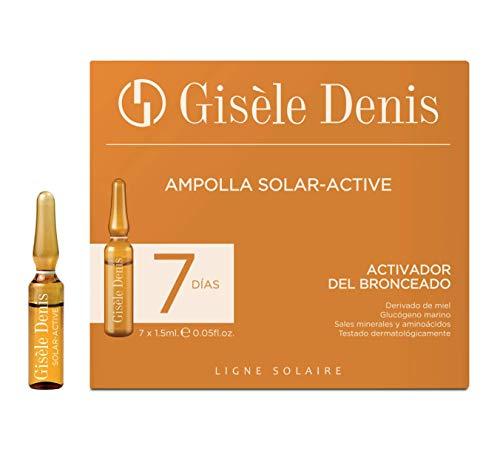 Gisèle Denis - Pack de Ampollas Faciales Solar Active, Activador del Bronceado, Cuidado Facial y Solar, Hidratante, Efecto Flash, 7 x 1'5 ml