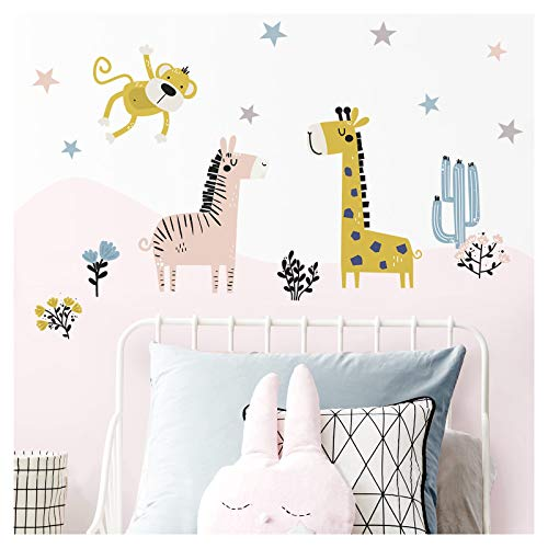 Little Deco Wandsticker Safaritiere Zebra AFFE I Wandbild L - 104 x 78 cm (BxH) I Giraffe Wandtattoo Baby Mädchen Kinderbilder Aufkleber Babyzimmer Junge DL310