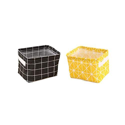 JimJim Mini Storage Basket Storage Box for Makeup Books Baby Toys200MM140MM160MM Home Decor Canvas Folding 2 Pieces Black  Yellow