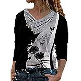 Camisas Mujer Nuevo Blusas para Mujer Sexy Tops Camisetas Camisa Manga Larga Botón Cuello en V, 2021 Novísimo Elegantes Moda Estampado Suelta Sudadera Tapas Geométrico Baratas Tapas(D Blanco,M)