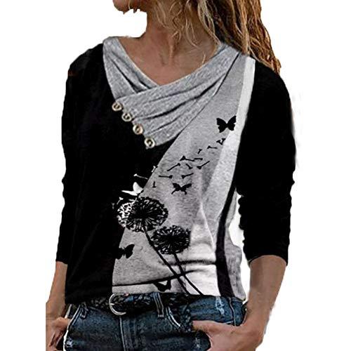 Shirt Damen 3D Katze Bedrucket Langarm T-Shirt Sommer Lockere Kreuz V-Neck Oberteile Frauen Casual Rollkragen Langarmshirt Bunt Farbblock Print Bluse Hemd Poloshirt S M L XL XXL XXXL