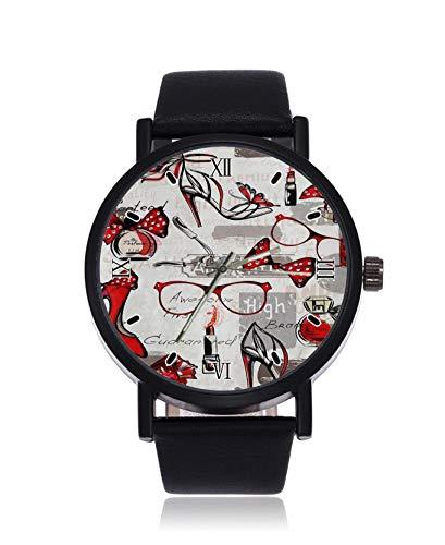 Reloj de Pulsera para Mujer con diseño de lápiz Labial y perfumes, Cuarzo, Correa de Cuero Inoxidable, Reloj Casual