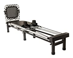 "Three heavy-duty, elastic resistance cords Stand to elevate reformer 10"" off the ground Padded, adjustable head rest and adjustable, fuzzy hand/foot straps for added comfort Folds for easy storage and wheels for easy portability Clips to make rope le..."