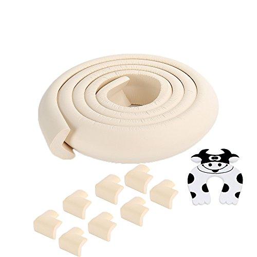 Gardes et cornières Kit - Protégez votre bébé ou de jeunes enfants - 6,5 pi (2 m) de crème souple en caoutchouc Pare-chocs et 8 protecteurs d'angle - Avec Stopper porte - préenregistrée avec la dernière forte 3M adhésif blanc