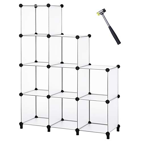 ANWBROAD Organizzatore a 9 cubi per armadio modulare fai da te, libreria, armadietto, libreria, armadietto, libreria, armadietto, in plastica, per camera da letto, ufficio, soggiorno, ecc LCS009T