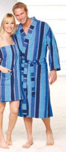 HK KLEINMANN Damen und Herren Kimono Bademantel blau L