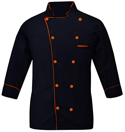 Leorenzo Creation PN-05 Men's Chef Coat (Size-M, Piping Colour Orange)