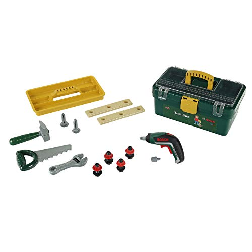 Theo Klein 8609 Bosch Werkzeugbox I Mit batteriebetriebenem Akkuschrauber Ixolino II I Inkl. zahlreichem Zubehör wie Hammer, Säge, Rollgabelschlüssel I Maße: 32 cm x 20,5 cm x 15 cm