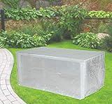 Fachhandel Plus Komfort Schutzhülle für rechteckige Gartentische 220x100x75 cm transparent Möbelschutzhülle für Terrassentisch