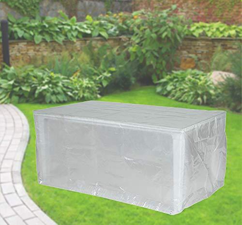 Fachhandel Plus Housse de protection pour table de jardin rectangulaire 220 x 100 x 75 cm Transparent