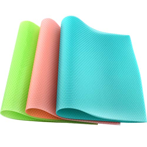 8 Pcs Refrigerator Mats, Upgrade Refrigerator Liners, Fridge Liners and Mats Washable, Can Be Cut Fridge Mats, Drawer Table Placemats, Psiso Anti-Skid Refrigerator Shelf Mats,3 Green/ 2 Pink/ 3 Blue