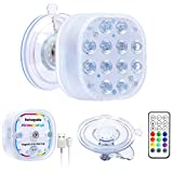 VIDOME Rechargeable Pool Lights with Large Suction Cup, Color Changing Led Lights Bathtub Lights, Full Waterproof Submersible Led Light Magnetic Pool Lights Remote Controlled Shower Light Spa Light