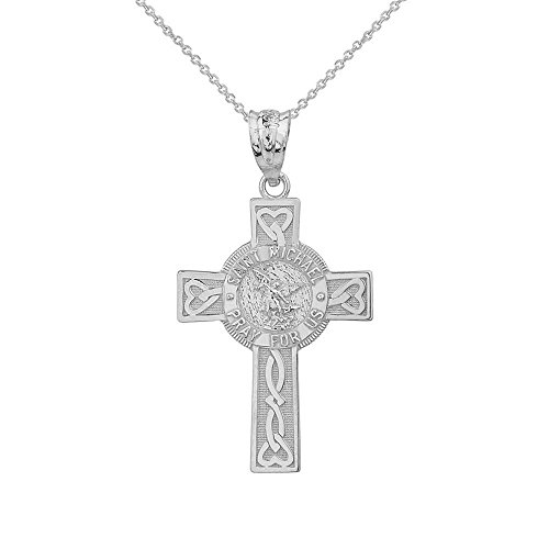 Solid 10k White Gold Saint Michael Pray For Us Words Celtic Cross Necklace (1.30'), 18'