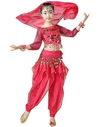 YAOTT Niñas 5 PCS Conjunto de Traje Disfraz de Danza del Vientre de Bollywood Indio con Top de Lentejuelas y Pantalones Rosa 5PCS(M)
