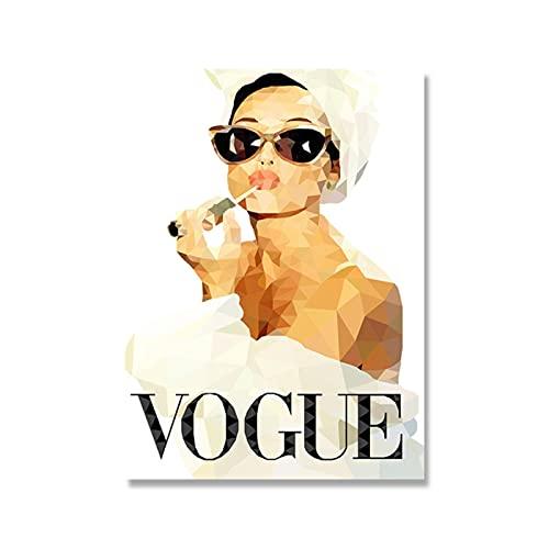 60x80 cm x1 pezzi Senza CorniceQuadri moderni Quadro su Tela Poster da parete Vogue Geometric Audrey Hepburn Ritratto Trucco PosterQuadri Camera da letto soggiorno