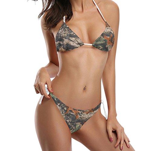 ALAZA Use4 Camouflage Forest Tree 2 Piece Swimsuits Bathing Bikini Sets for Women Large