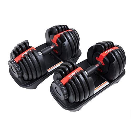 EMAIS Adjustable Dumbbell Fitness Dial Dumbbell with Handle and Weight Plate for Home Gym Set (2 x 52.5 lbs) -2 Packages