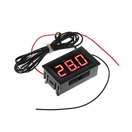 Termometro - SODIAL(R) DC 5-12V -50-110 Celsius Indicador de temperatura digital Termometro Detector de temperatura del refrigerador con la sonda, Rojo