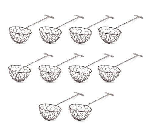 Pamai Pai® Fondue Sieb 10er Pack Edelstahl für Feuertopf Mongolentopf Löffel Sieblöffel Silber