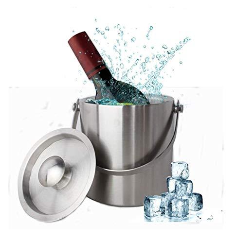 SQHY Cubo de Hielo de Doble Pared, Enfriador de Vino del Cubo de la Bebida con la Tapa de la Tapa del asa el Carro de la Barra del contenedor del Vino de Hielo para la Fiesta, Camping-3L 1214