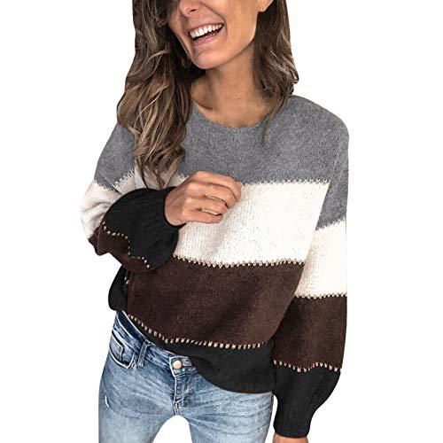 YZANYFQH Herbst Und Winter Frauen Gestreiften Rundhalsausschnitt Langarm Pullover Top Frauen