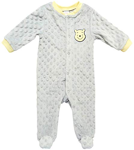 Disney Newborn Baby Footie Pajamas - One Piece Popcorn Velour Footed Sleep and Play Onesie (Boys and Girls), Winnie The Pooh Grey, Size 3-6M