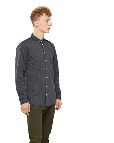 Minimum Miro Langarmhemd, Herren, Medium, Schwarzblau