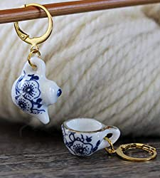 Teapot and teacup stitch marker set from Amazon.com
