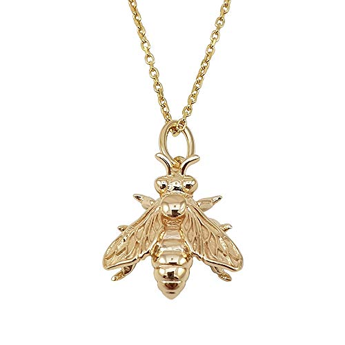 Kiara Jewellery 925 Sterling Silver Yellow Gold Plated Honey Bee Pendant Necklace on matching 18' Sterling Silver Trace Or Curb Chain.