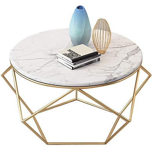 Salontafel Nordic Small End Table Side Tafels, Creatieve Sofa Snack Table, Marmeren Effect Top,Eenvoudig Kantoor, Makkelijk schoon te maken