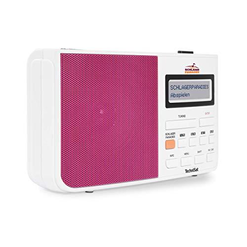 TechniSat Digitradio 210 Schlagerparadies Edition DAB Radio (mit Schlagerparadies Direktwahltaste, DAB+, UKW, zweizeiliges LCD-Display, Teleskopantenne, Kopfhöreranschluss) weiß/pink